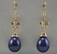 South Seas drop blue butterfly sallei pearl earrings gift