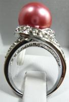 South Seas 10mm rose shell bead ring silver birthday gift