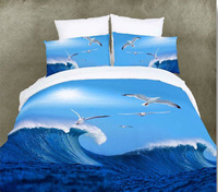Attractive Ocean Island style 3D cotton printed bedding set with saegull pattern free shipping