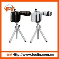 Free Shipping 8X Zoom Telescope Camera Lens with Tripod and Case for iPhone 4 4S 4G