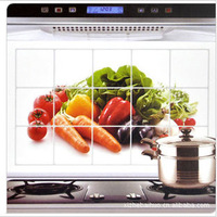 2pcs/lot High-quaity aluminium foil fruits water-proof and oil-proof kitchen wall poster Kitchen decoration free shipping