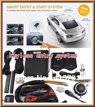 2012 New Arrival Car Alarm Smart Keyless Entry System with Push Button Start and Remote start Auto door lock/unlock PKE 3300