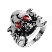 Alien Wrench Skull Crystal Stainless Steel Mens Ring Size 8 9 10 11 12 SRN079