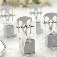 120PCS Silver Chair Style Favor Box With Heart Charm And Ribbon for Wedding Candy Gift Chocolate Boxes Wholesale Free Shipping