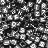 Free Shipping 500 Random Mixed Black Alphabet Letter Acrylic Cube Beads 6mm Dia.(W01868X 1)