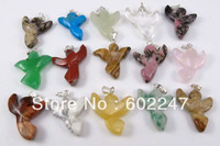 Free Shipping Bulk Mix Angel Natural Stone Pendant, 12pcs/lot