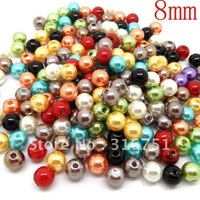 Free Shipping 500 PCs Mixed Acrylic beads Pearl Imitation Round Beads 8mm Dia. (W00815)