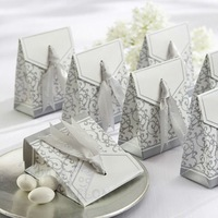 120PCS for Wedding Candy Gift Chocolate Favor Box With Silver Ribbon Wholesale Free Shipping