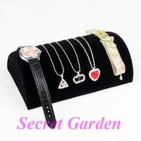 2 Elegant Black Velvet Half Moon Watch Necklace Bracelet Jewellery Display Stand 120709YB-JSS03