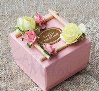 60 PCS Garden Theme Pink Wedding Candy Gift Chocolate Favor Box 6.5cm*6.5cm*4.5cm Wholesale Free Shipping