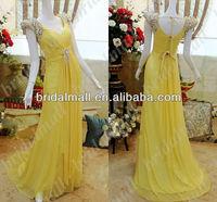 JW0413 New Arrival Beaded Cap Sleeve Ruffle Chiffon yellow Prom Dress Evening Dress 2013