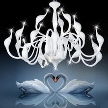 FedEx Free shipping hot selling 24 light fashion Swan chandelier modern light silver white red promotion