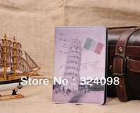 High quality Deluxe Retro places of interest with UK,USA,France,Italy Flag leather case for Ipad Mini, Free Shipping