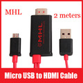 2M Micro USB to HDMI MHL Cable Adapter Full HD 1080P for HDTV Mobile Phone Tablet Free Shipping