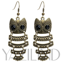 FREE SHIPPING/Factory sales directly hot selling 100% high quality  copper earrings with black crystal for women,owl earrings