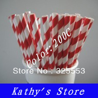 1000pcs Red striped Drinking Paper Straws,party straws--200C,wholesale free shipping by EMS