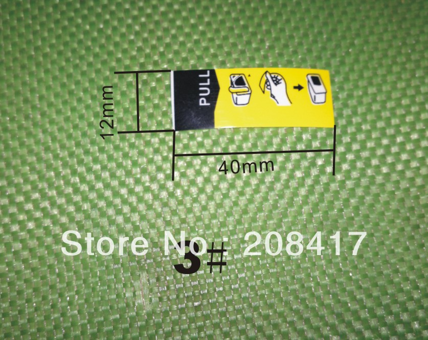 (ACC-YT1) yellow tag label air duct film for Epson Canon Lexmark Kodak ink cartridge air hole size 3# 12*40mm free shipping dhl(China (Mainland))