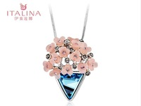 ITALINA Good Qaulity feeling dew 18K Gold Plated necklace made with Swarovski element Crystal, the emergence of true love