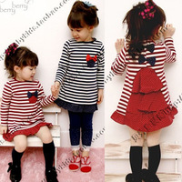 2012 autumn stripe butterfly laciness paragraph girls clothing baby long-sleeve dress clothes qz-0036 (CC019)