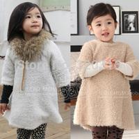 2014 autumn and winter princess girls clothing baby plush one-piece dress qz-0428 (CC019)