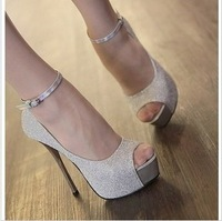 free shipping Fashion platform high-heeled shoes sexy thin heels female shoes hasp pumps