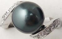 South Seas 10mm black shell pearl ring silver gift 53