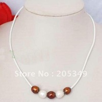 Fashion jewelry White Leather Rope 10-11mm Freshwater Pearl Necklace