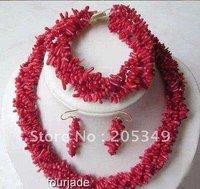 Set Red Branch coral  Necklace Bracelet