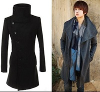 Мужские изделия из шерсти 2013 New Thick warm Mens winter coat, fashion leisure winter jacket deer pattern wool coat Cotton-padded clothes