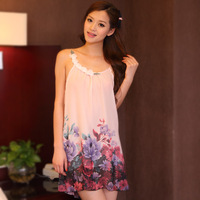 Sleepwear female summer women's chiffon spaghetti strap sexy nightgown women's summer one-piece dress 1208