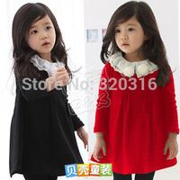 2014 autumn lace flower girls clothing baby long-sleeve dress qz-0422 (CC019)