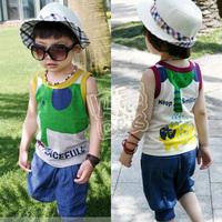 2012 summer circleof boys clothing girls clothing baby vest capris set tz-0134 (CC019)