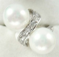 South Seas 8mm white shell pearl ring silver gift 71