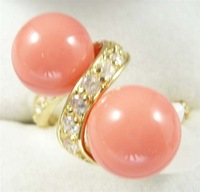 South Seas 8mm powder coral shell pearl ring revision gift 73