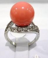South Seas 10mm powder coral shell pearl ring birthday gift 15