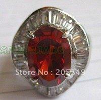 Pair 18K GP Red Zircon Ring