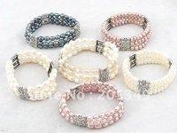 Fashion 6 pcs 3 Strands 6-7mm Freshwater Pearl Bracelet