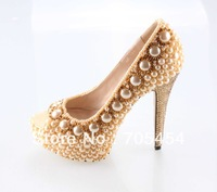 BS368 free shipping gold pearls 14cm peep toe bridal wedding shoes