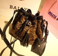 Miss puff  fashion women's handbag messenger bag vintage toilet leopard print bucket bag