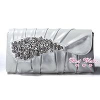 Autumn and winter new arrival bronzier quality PU bag silver rhinestone ruffle handmade bag 9305