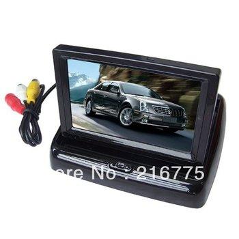 Free Shipping 4.3'' TFT LCD Foldable Car Back up Monitor Vehicle Camera Monitor2CH Input