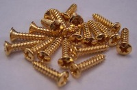 GOLD PICKGUARD SCREWS For FENDER Strat & Tele Guitar or P Bass & Jazz Bass