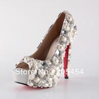 BS377 free shipping 14cm peep toe pearls with rhinestones bridal wedding shoes