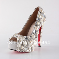 BS377 free shipping 14cm peep toe pearls with rhinestones bridal wedding shoes