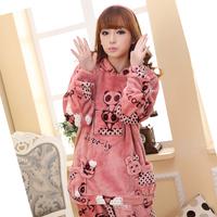 Winter flannel sleepwear women's long-sleeve thickening coral fleece cartoon lounge set