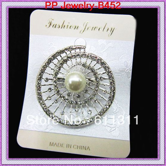 Rhoudium plated crystal beautiful alloy pearl brooches 120pcs/lot cheap wholesale brooches/wedding costume brooches for bridal(China (Mainland))