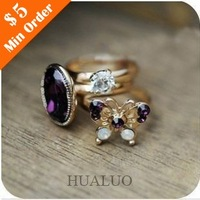 Min.order is $10 (mix order) Free Shipping Korean Retro Mysterious Purple Butterfly Flash  Gem Three-piece Ring R665