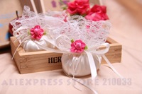 Scented Set Of 50 Ball-Shaped Satin & Lace Candy Gifts Chocolate Bag With Flower For Wedding Favors & Sachet Free Shipping