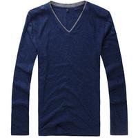 9.9 basic shirt male t-shirt long-sleeve T-shirt male casual t shirts thin basic shirt european version of the loose plus size