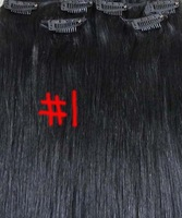 """15""""-22"""" 7pcs Clips in  real Hair Extensions #1 jet black 70g for your head in Women's Beauty Hairsalon in Fashion"""